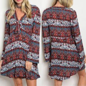 Off White Rust Print Dress {Grifflin Paris}